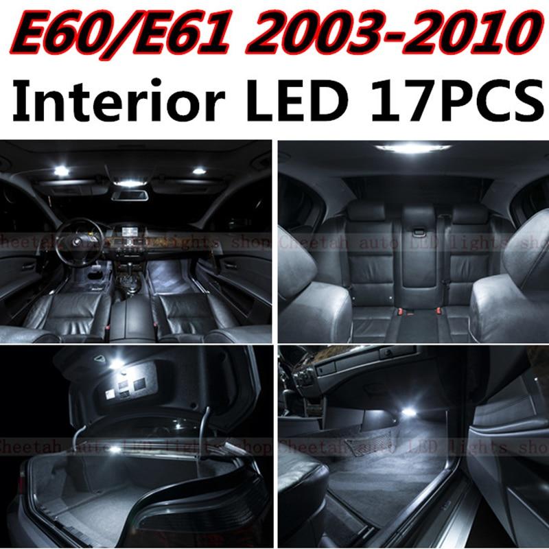 Tcart 17 pcs X livraison gratuite Sans Erreur LED Intérieur Package Light Kit pour BMW E60 E61 accessoires 2003-2010
