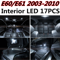 Tcart 17pcs X free shipping Error Free LED Interior Light Kit Package for BMW E60 E61 accessories 2003 2010