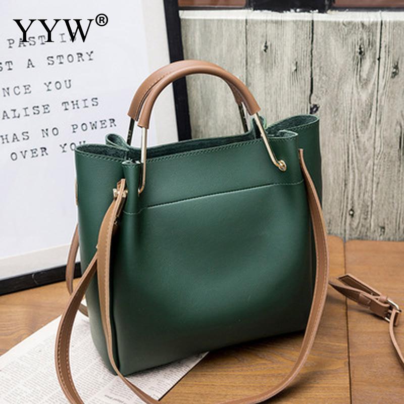 Solid Soft PU Leather Female Shoulder Bag Women'S Bucket Handbags Light Grey Tote Bags For Women 2018 Designer Top-handle Bag 20