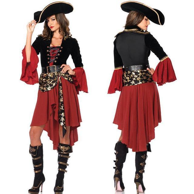 Caribbean Pirate Halloween Costumes For Women Captain Pirate Costumes Adult Red Caribbean Wench Captain Cosplay Fantasia Dress