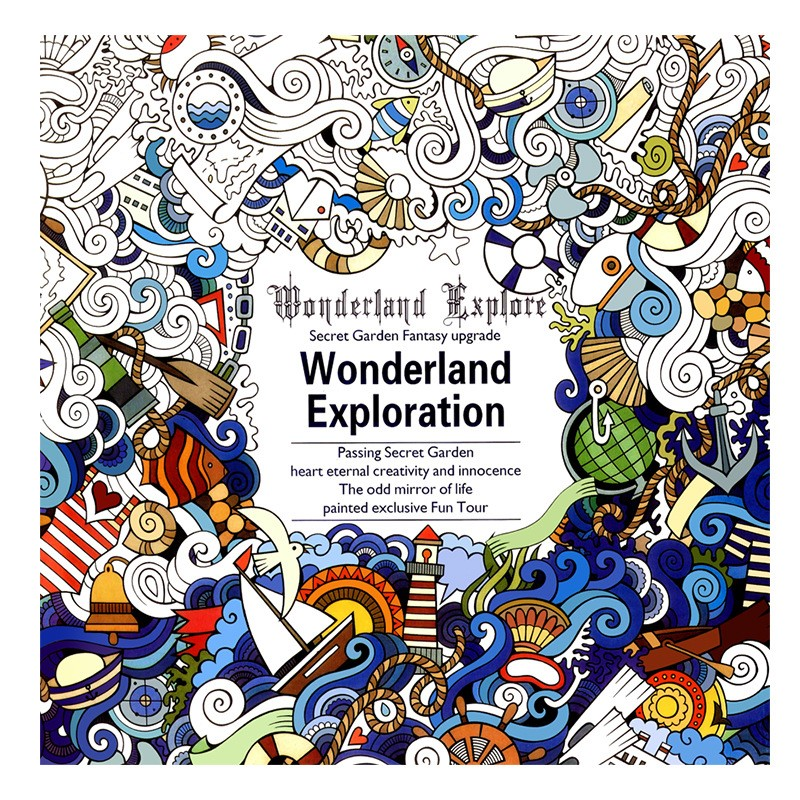 Wonderland Exploration Book Coloring Books For Adult Kids Painting Antistress Colouring Mandala Secret Garden Drawing 24Pages(China)