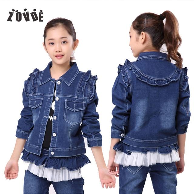 Children 3-10Y Autumn Denim Jackets For Girl Female Babe Long Sleeve Denim Outerwear Coats Fashion Baby Girls Jeans Jackets