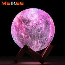 3D Print Moon Lamp Color Change LED Bedroom Night Lamp Starry Sky Galaxy Light for Children Christmas Home Decoration 8/15cm