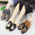 Spring 2017 Women Genuine Leather Slip on Furry Loafers Rabbit Fur Shoes Square Toe Tassel Decor Casual Shoes Female Flat Shoes