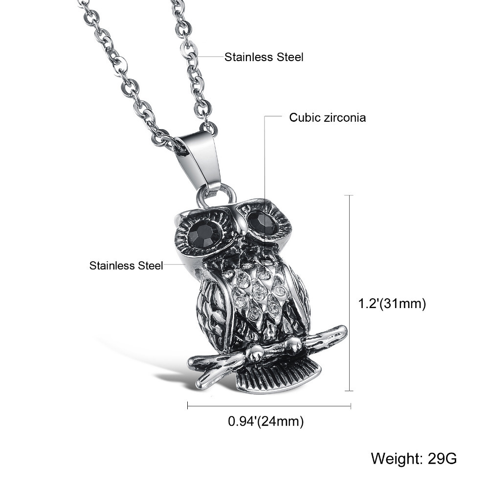 Fate Love Vintage 316L steel owl pendant necklace with BIg Shinning Black stone eyes Style punk Necklace for man and woman FL902