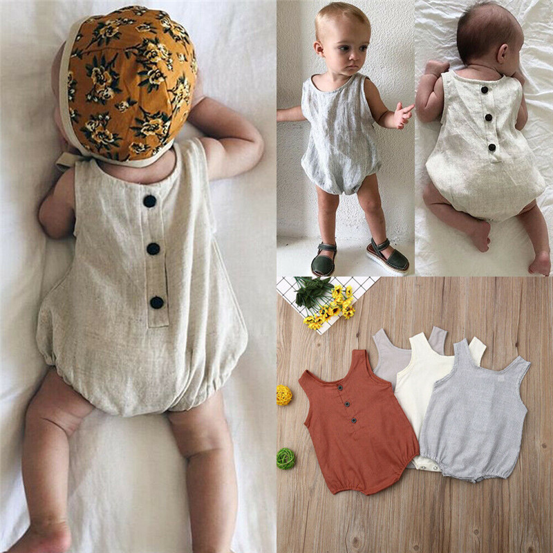 PUDCOCO Lovely Newborn Infant Baby Girl Boy Summer Sleeveless Solid Bodysuit Cotton&Linen Jumpsuit Outfits Casual Sunsuit 0-18M