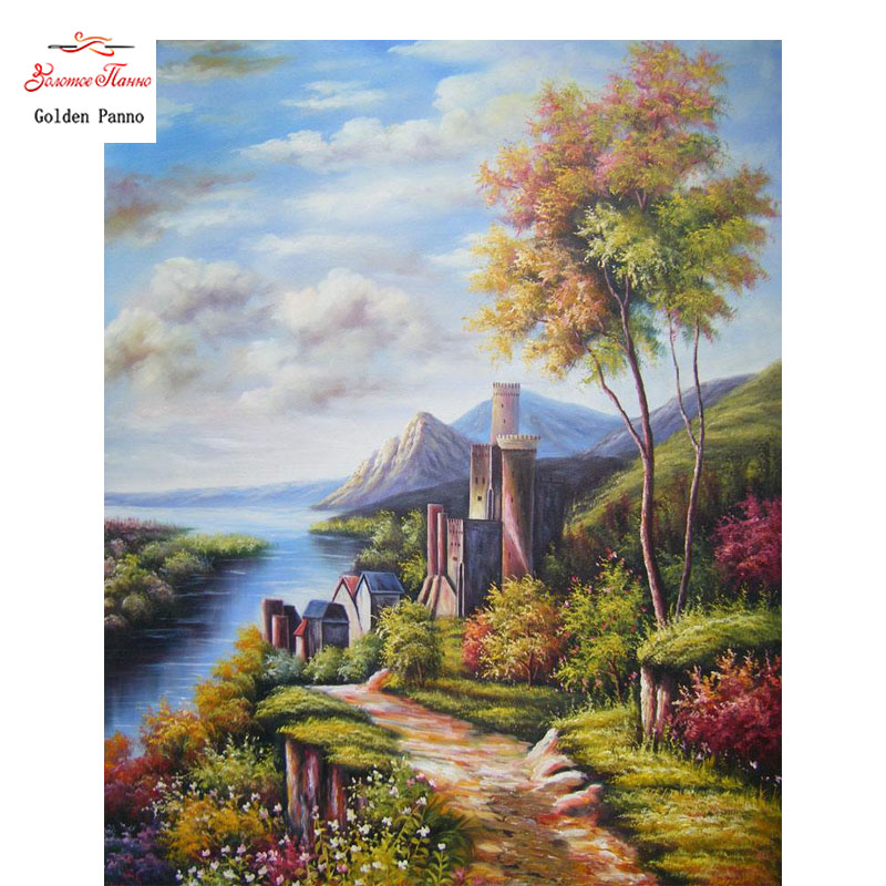 Golden Panno 5D DIY Diamond Painting Embroider Cross Stitch Scenic Home Decor Craft Resin Wall Art Seaside scenery 0712
