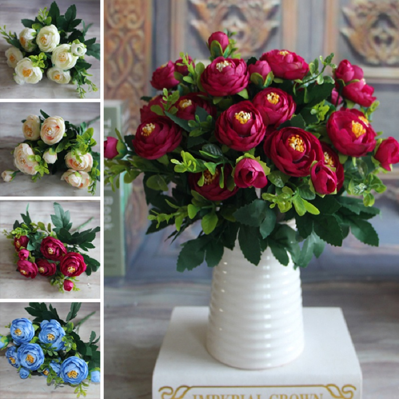 New Multi Color 6 Branches Spring Artificial Fake Peony Flower Arrangement Home Table Room Wedding Decor