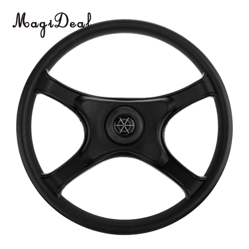 MagiDeal Universal Replacement ABS 330mm 4 Spoke 34 Boat Steering Wheel for Marine Rib Speedboat Pontoon Power Sail Boat Yacht