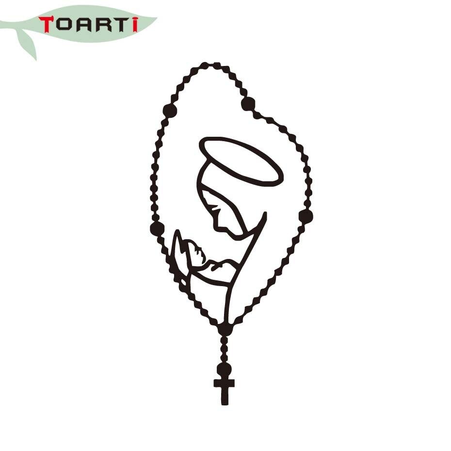22 * 10 CM Rosary Saint Mary Fatima Virgen Bilklistermärken Avtagbar - Exteriör biltillbehör - Foto 4