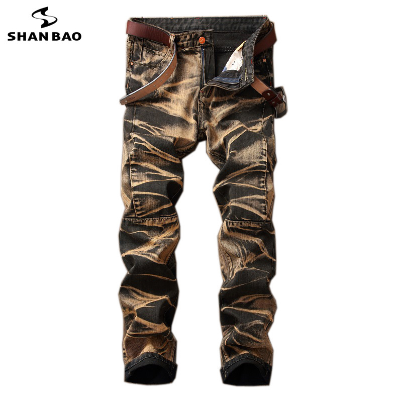 2019 spring new style trend personality men's motorcycle   jeans   folds retro old style large size straight   jeans   trend trousers