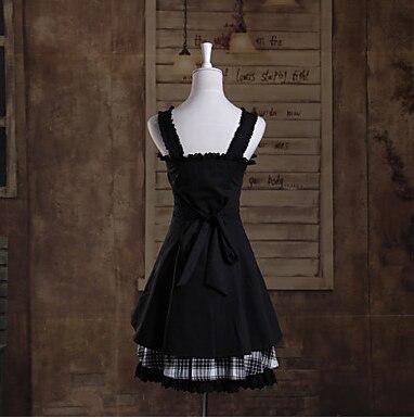 One-Piece/Dress Sweet Lolita Lolita Cosplay Lolita Dress Blanc/Noir Plaid/Vérifier Manches Courtes Longueur Dress Pour Femmes Cotto - 4