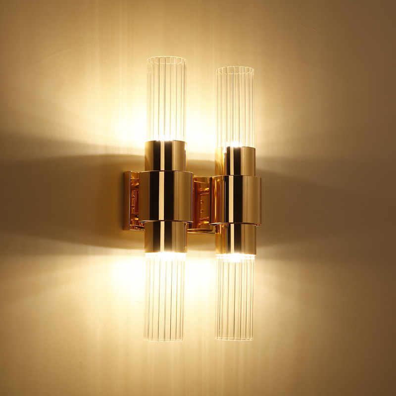 Скандинавский пост Современные Бра, настенная Светодиодная лампа для спальни прикроватная настенная лампа из стекла золотистые железные светильники для домашнего декора