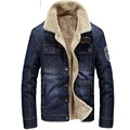 Men's Quality Military Style Army Denim Thicken Jackets and Coats Blue Colors Plus Size M-4XL Casual Winter Jeans Coats 135