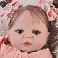 Bebe real reborn baby full body silicone dolls girls 2357cm hair rooted fashion Baby reborn doll gift for kids can bathe bonec