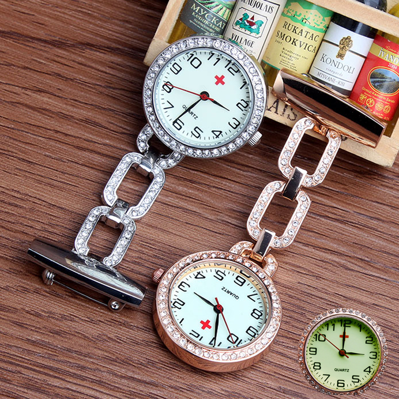 New Fashion Clip-on Fob Quartz Brooch Hanging Nurse Pin Watch Luxury Crystal Men Women Full Steel Luminous Pocket Watch relogio new luxury round dial clip on fob nurse pocket watch quartz brooch hanging fashion men women luminous pin watch steel relogio