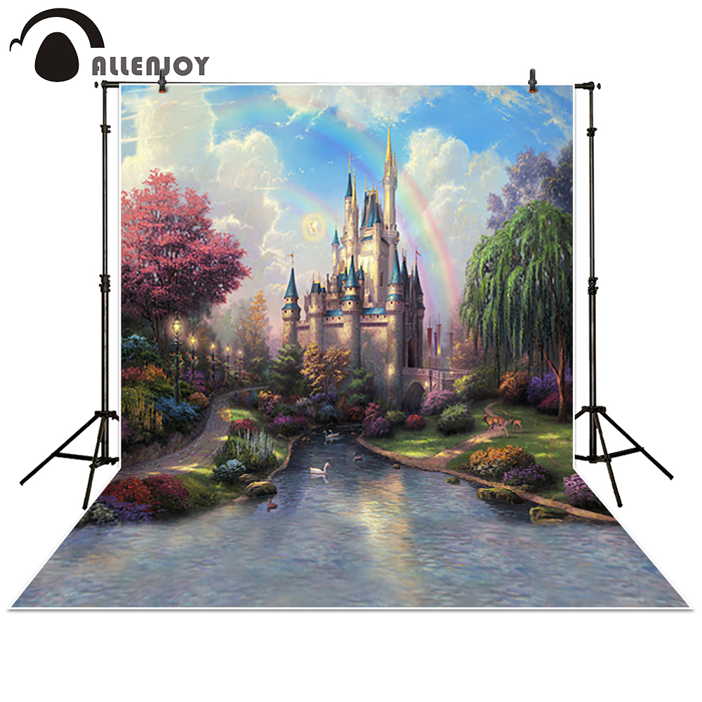 Allenjoy photography backdrop background photo studio baby forest Castle Creek Cartoon toile princess props photocall photobooth 300cm 200cm about 10ft 6 5ft fundo butterflies fluttering woods3d baby photography backdrop background lk 2024