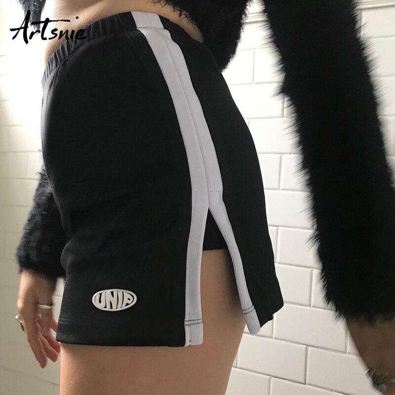 Artsnie Summer 2019 High Waist Casual Skirt Shorts Women Sexy Split Striped Cycling Running Shorts Femme Biker Shorts Mujer