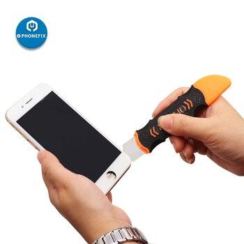 JM-OP12 с двумя боковыми металлическими лезвиями инструменты для открытия мобильного устройства ремонт телефона разборка для Samsung iPhone iPad ноут...