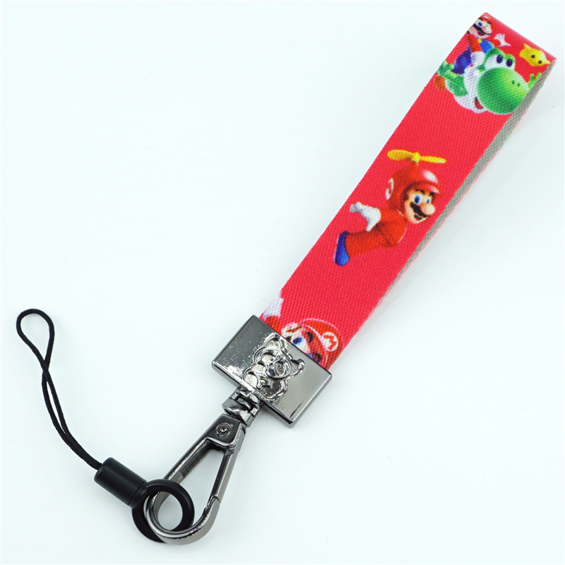 Cute Super Mario Bros Keychain Ribbon Phone Strap Key Chain