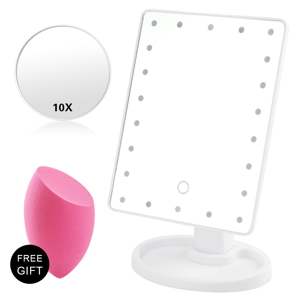 16/22 LED Light Touch Screen Makeup Mirror With 10x Magnifying Glass Flexible Cosmetics Lighted Make Up Mirrors USB Or Battery