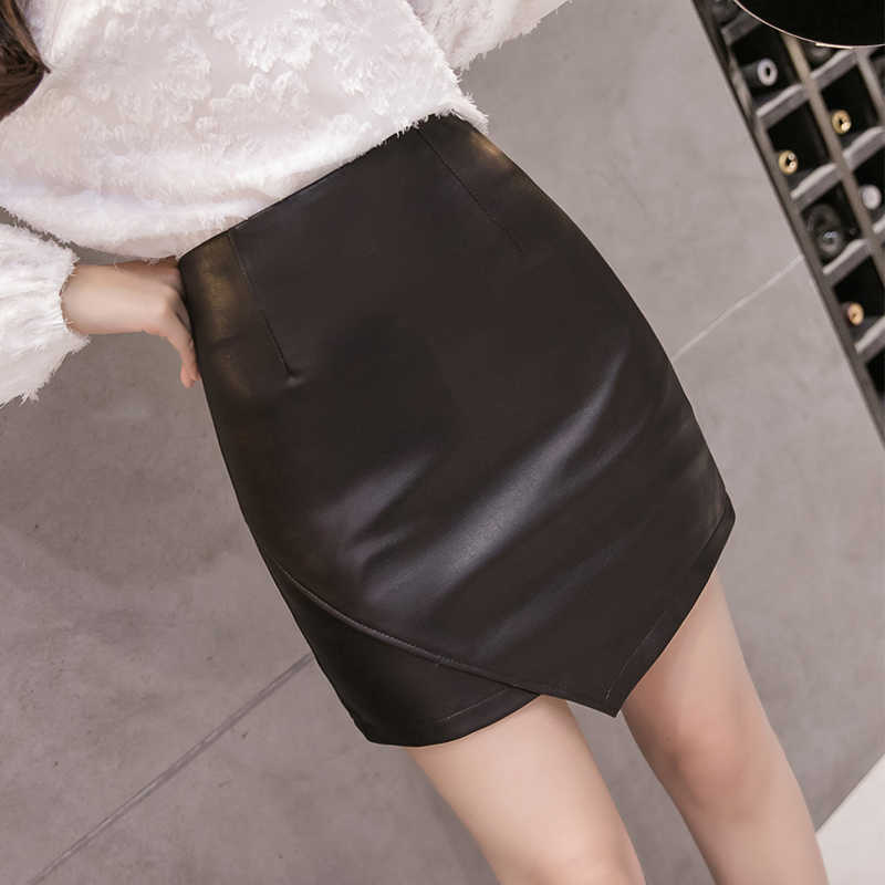Autumn Winter Faux Leather Women Pencil Skirt 2019 New Fashion PU Slim Sexy Skirt Casual Lining Skirt Back Zipper Elegant Skirt