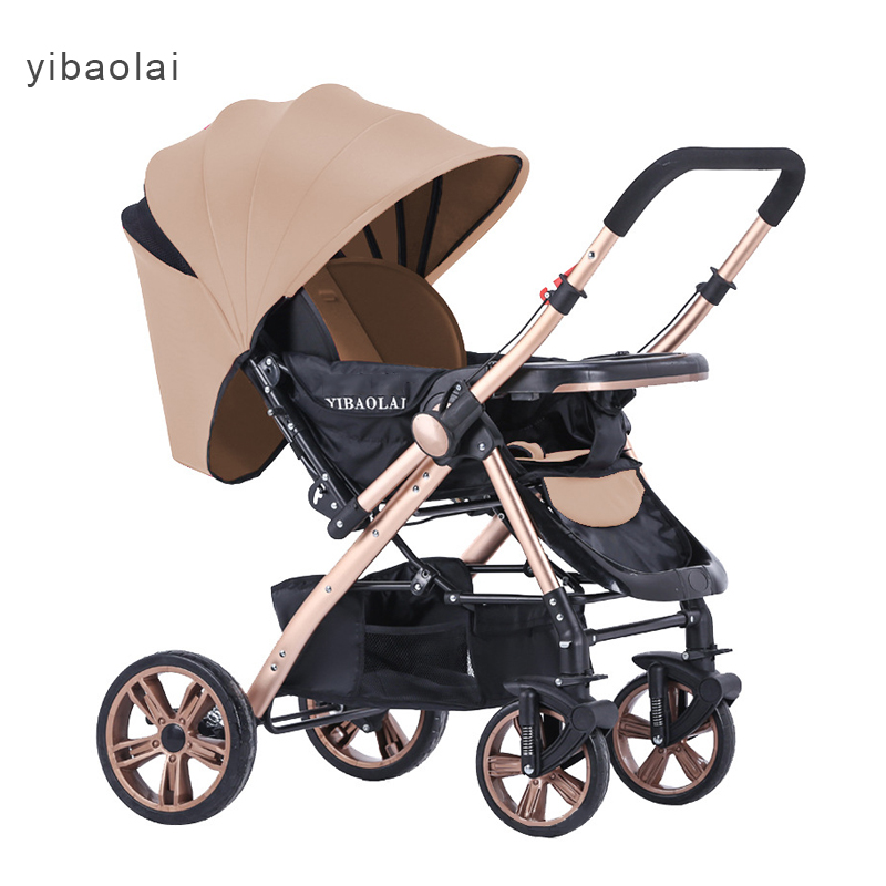 European high-profile baby trolley can sit can lying  trolley ultra-light portable baby stroller 175 degrees umbrella cars high profile luxury baby stroller can sit can lying baby carriage hand can adjustable trolley war ax wheel umbrella car