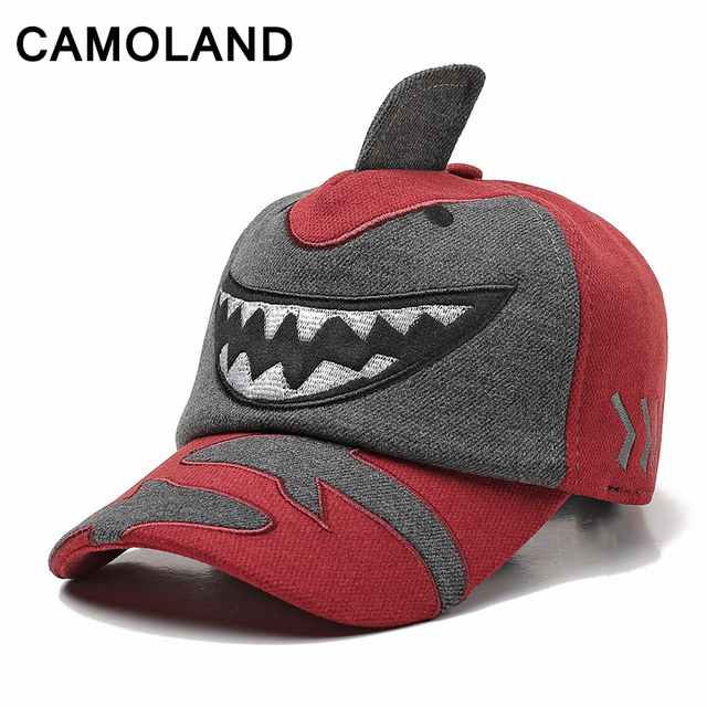Cartoon Shark Baseball Cap Kids Fall Winter Hat earflap Child Snapback Warm  Boys Girls Outdoors Visor d077a5a5a56