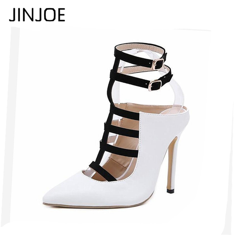 JINJOE Women shoes Sandals Pumps Thin Heels Pointed Toe High heels Sexy Stiletto Party Shoes gladiator sandals female shoes women gladiator thin heel high heels sandals 2017 summer peep toe sandal female sexy platforms shoes party pumps mujer zapatos