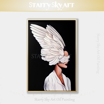 Gifted Artist Hand-painted Black Background Beautiful Lady with Wings Oil Painting on Canvas Modern Fine Art for Wall Decoration