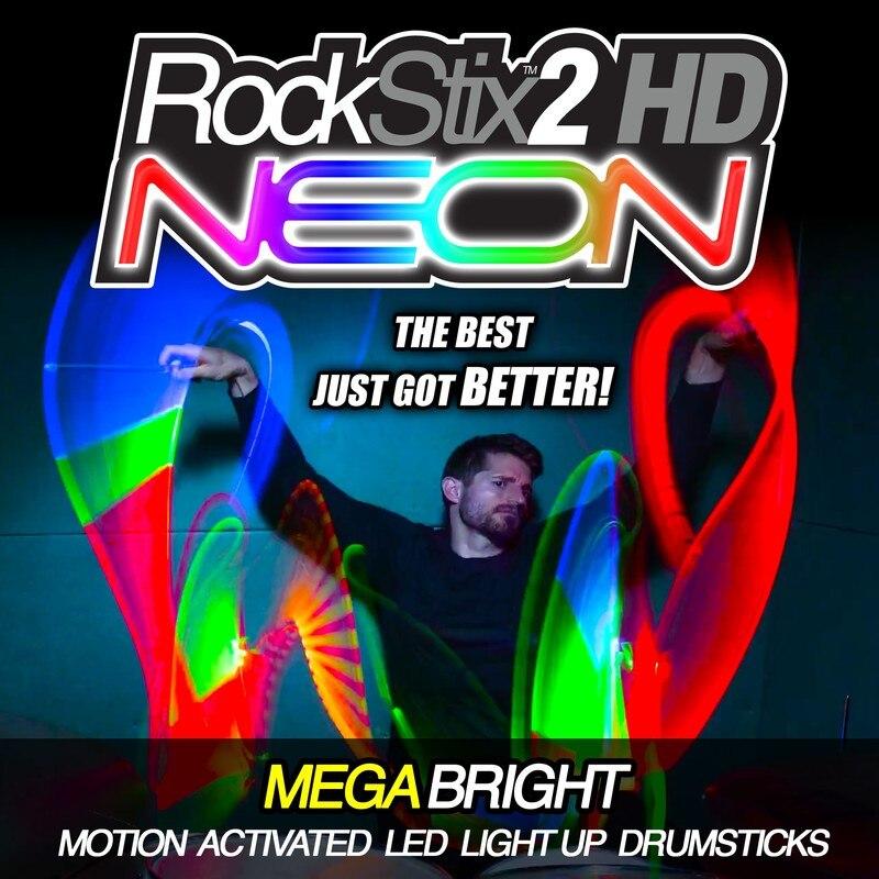 Rockstix 2 HD NEON, baguettes Mega lumière LED lumineuse Up, disponible en 13 FX changement de couleur également rouge, vert, bleu