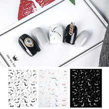 Newest WG-18 19 Marbling design 3d nail sticker back glue decals Japan style DIY decoration tools for art