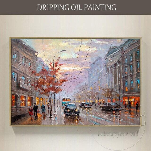 Artista esperto dipinta A mano Moderna Strada Paesaggio Dipinto Ad Olio su Tela Londra Vie Oil for Living Room
