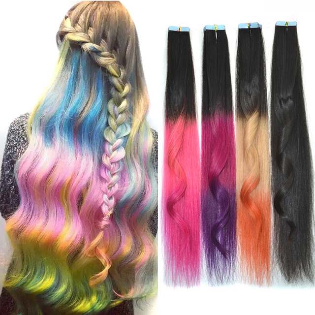 Wholesale 2016 Fashion Women s Long Tape in Humano Hair Extensions in Skin  Weft Hair Extensions Ombre Hair Pieces VELVEL ba0ee7d982