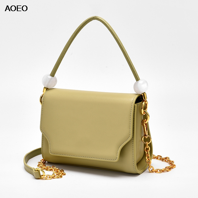 AOEO Women Handbag Brand Luxury Split Leather Shoulder Bag Pearl Girl 2019 Beading Chain Strap Woman