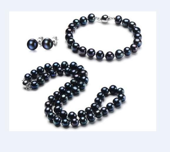 New 10-11mm natural tahitian black pearl necklace bracelet earring set whiteNew 10-11mm natural tahitian black pearl necklace bracelet earring set white