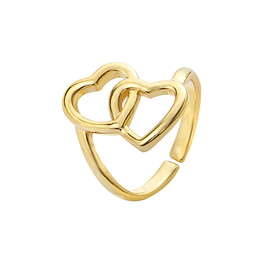 Personality Woman Rings 2 Love Stainless Steel Gold Adjustable Romantic Accessories Couple Birthday Pres