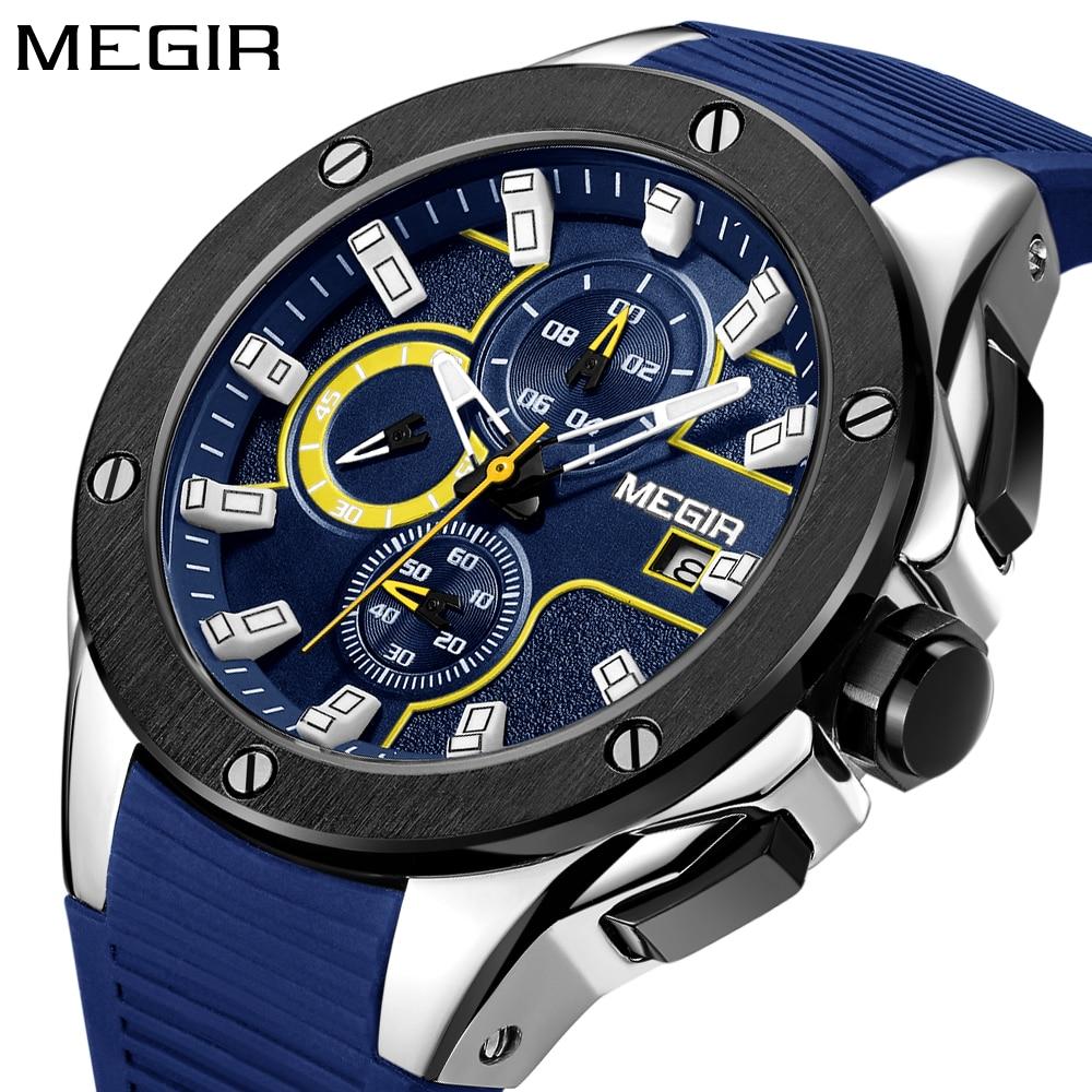 MEGIR رجال الرياضة الساعات سيليكون - ساعات رجالية