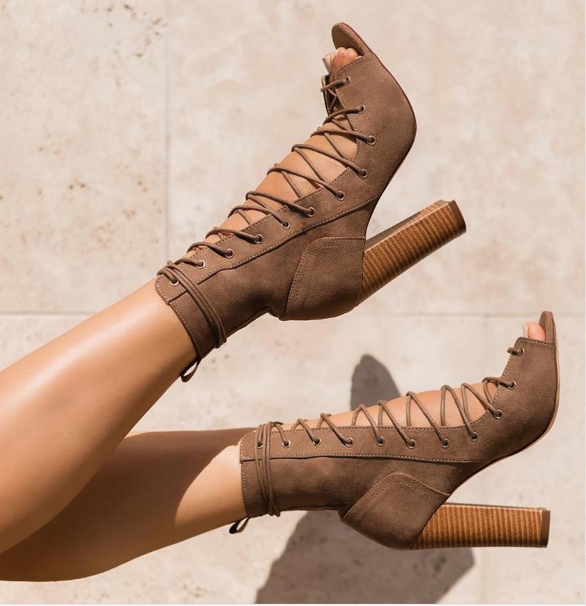 la sexy Botines en nuevos superior Toe de cuero tacón Sandalias Zapatos 2018 de Botas parte ymw8Nvn0O