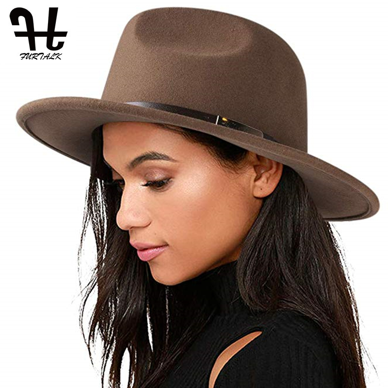 FURTALK Fedora Hat for Women Men 100% Australian Wool Felt Wide Brim Hat Vintage Jazz Fedora Hat Couple Cap Winter chapeau femme 2