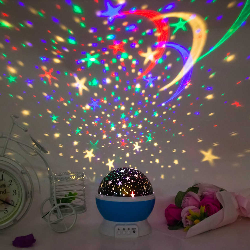 Новинка светодиодный вращающийся Звездный проектор Освещение Луна звездное небо дети игрушки Светящиеся лампы Батарея Аварийного проекции лампы игрушки