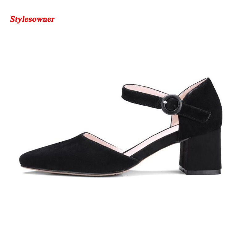 Stylesowner Suede Leather Women High Heel Shoes Ankle Strap Buckle Fashionable Elegant Lady Dress Shoe For Spring and Summer 2014 spring and summer new elegant gold buckle leather shoes women shoes carrefour