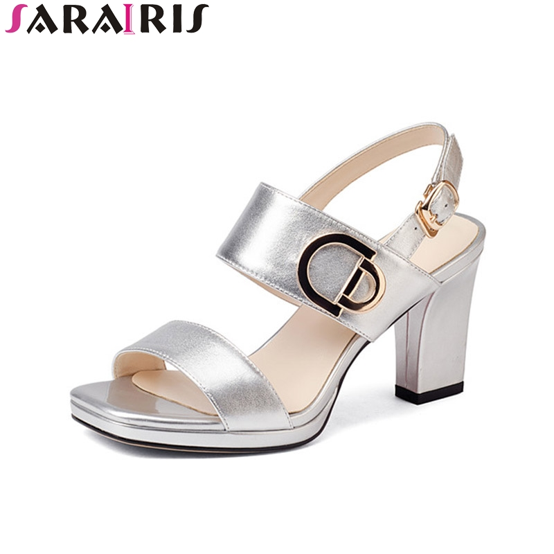 SaraIris 2018 Summer Fashion Genuine Leather Brand Bright Ankle Strap Sandals Peep Toe High Square Heel Women Shoes Size 34-39 genuine leather chunky heel gladiator ankle wrap women summer sandals 2015 new lady fashion peep toe shoes size 34 39 sxq0921