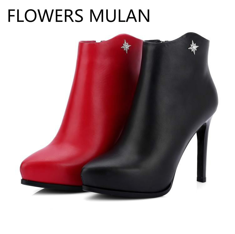 Red Black Leather Ankle Boots For Women Pointed Toe High Heels Ladies Booties Side Zipper Winter Shoes Woman Runway FashionRed Black Leather Ankle Boots For Women Pointed Toe High Heels Ladies Booties Side Zipper Winter Shoes Woman Runway Fashion
