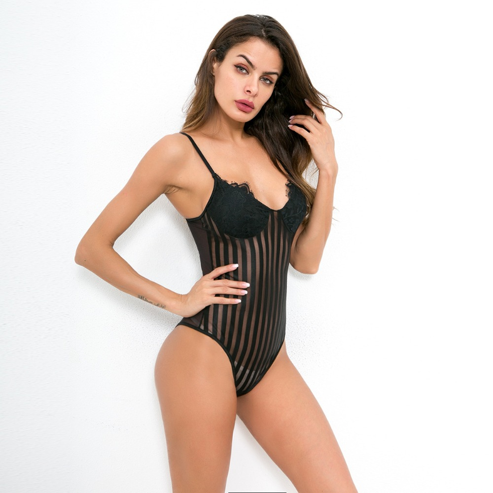 Cryptographic Sexy spaghetti strap mesh lace bodysuit women stripe patchwork jumpsuit transparent 2018 new catsuit body feminino 21