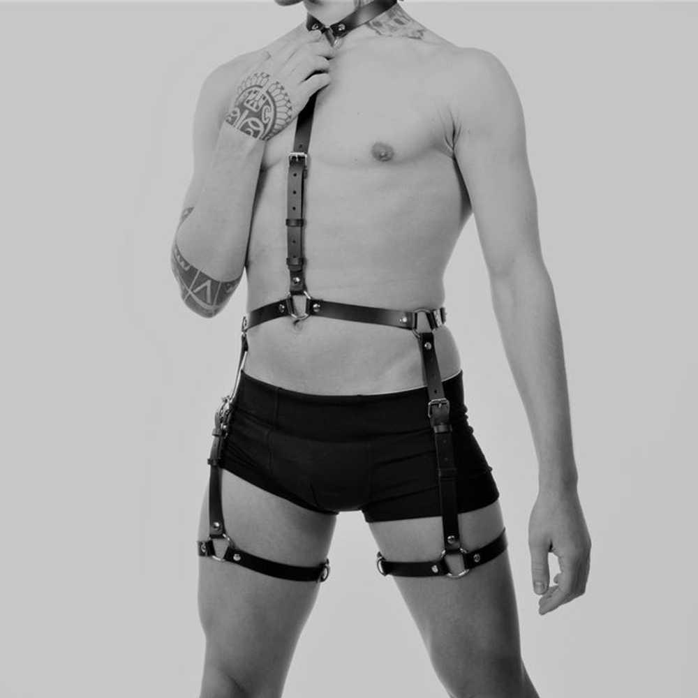 Nowy dorosły czarny fetysz ciała klatki piersiowej pas do pończoch zestawy kostium uprząż skórzane mężczyźni Bdsm Bondage ograniczenia Sex Gay erotyczne zbiorniki mężczyzna