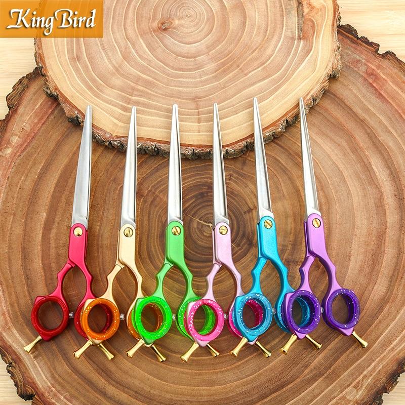 Professional Pet Dog Grooming Scissors 6.5 Inch Pet Hair Shears Straight 6 Color Handle Super Japan 440C Kingbird TOP CLASS NEW