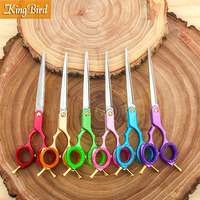 Professional Pet Dog Grooming Scissors 6.5 Inch Pet Hair Shears Straight 6 Color Handle Super Japan 440C Kingbird TOP CLASS NEW