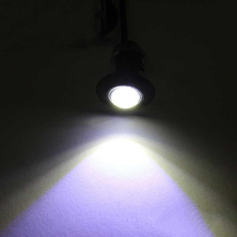 1 adet Ultra ince Dia 23MM araba LED kartal göz ışık su geçirmez gündüz farları DRL siyah/gümüş kabuk tüm araba için