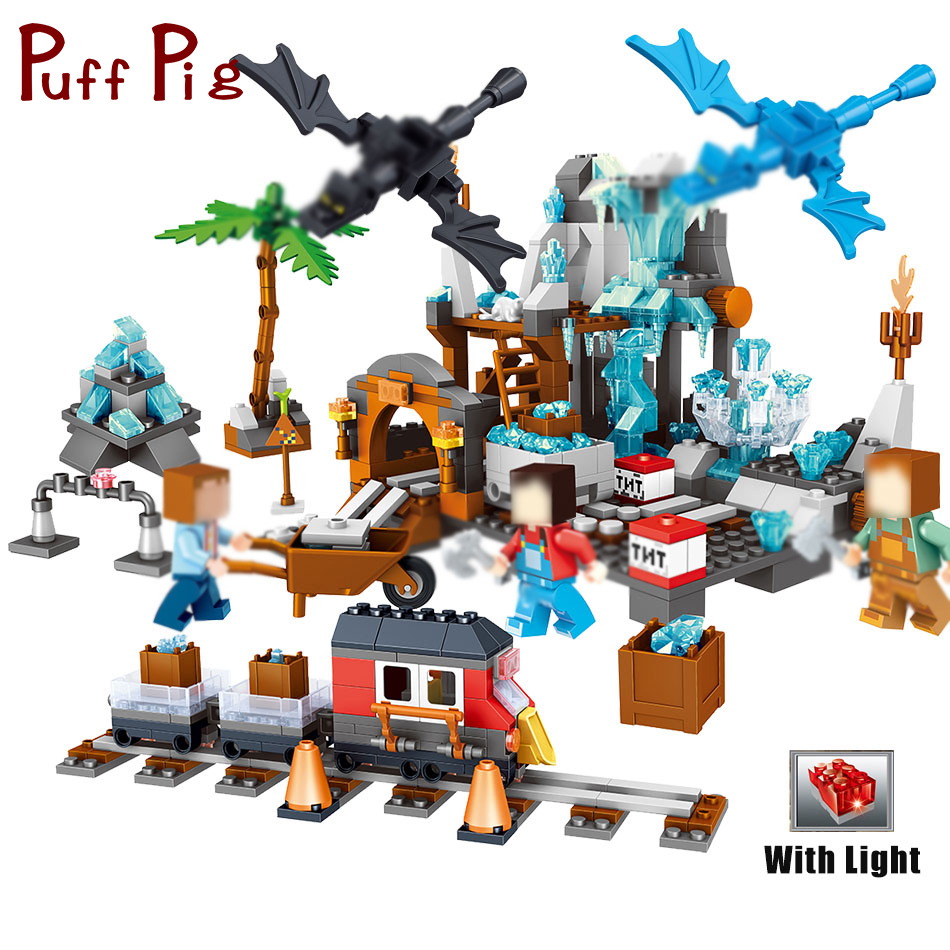 718pcs Crystal My Ice World Classic building blocks with light bricks compatible legoes minecrafted toys for children Christmas цена